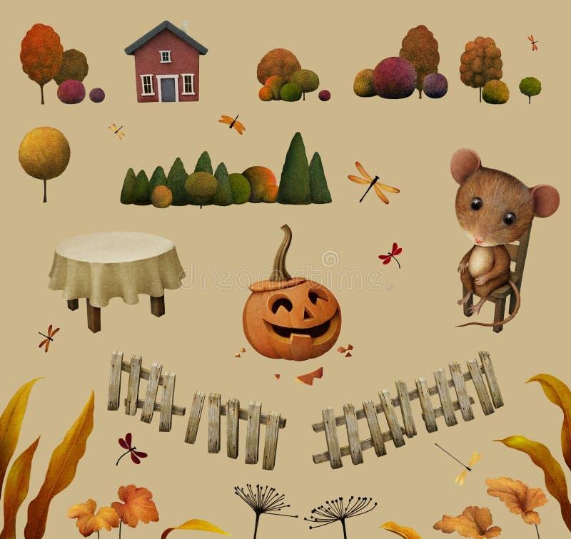 Elementos para a ilustração do outono ilustração stock