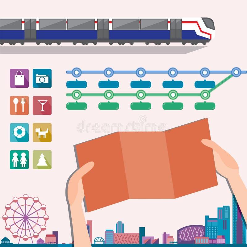Elementos para la plantilla del diseño del mapa del metro o del subterráneo stock de ilustración