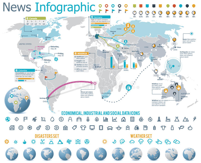 Elementos para las noticias infographic con el mapa stock de ilustración