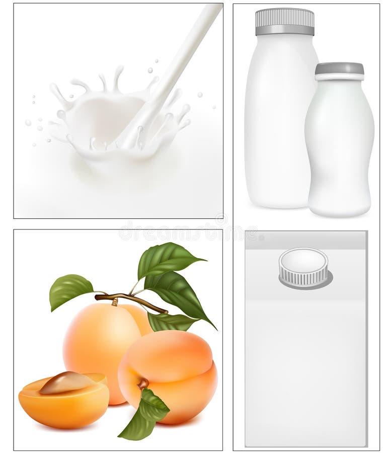 Elementos para o projeto da leiteria do leite da embalagem. ilustração royalty free