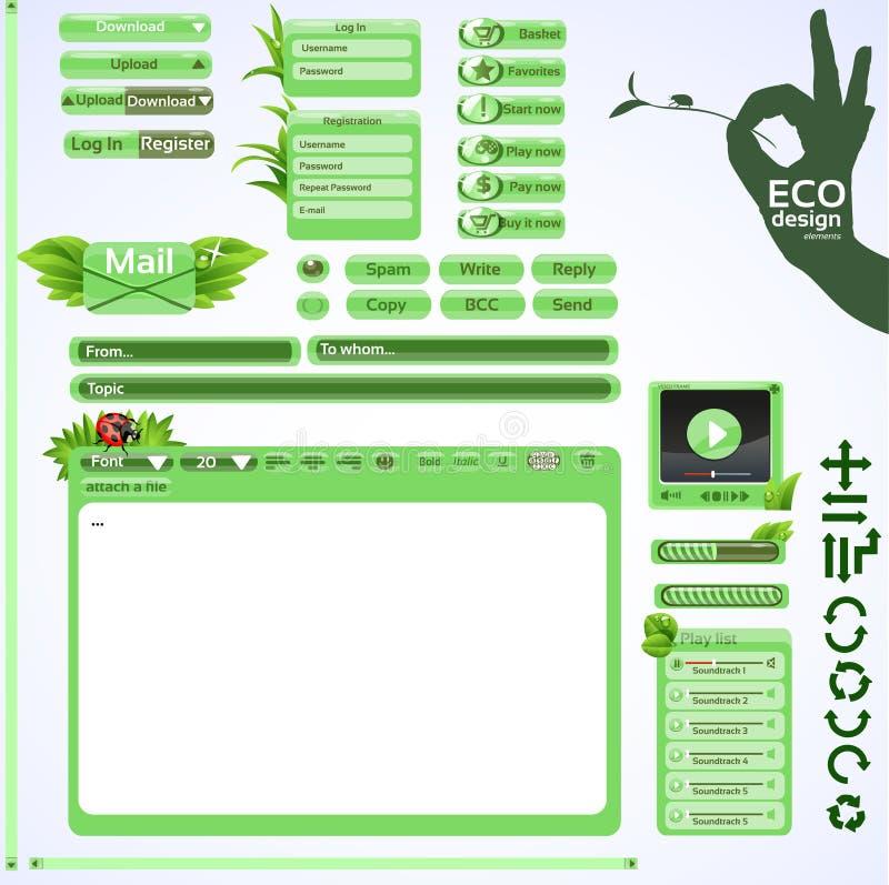 Elementos para o projeto de Web amigável do eco. Jogo do verde ilustração do vetor