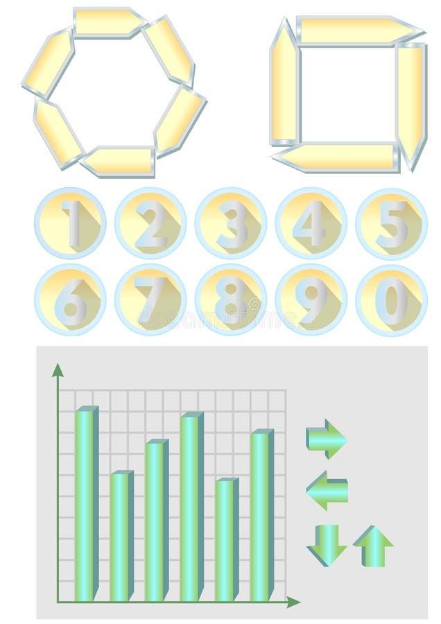 Elementos para o projeto infografic - diagramas, números, setas ilustração royalty free