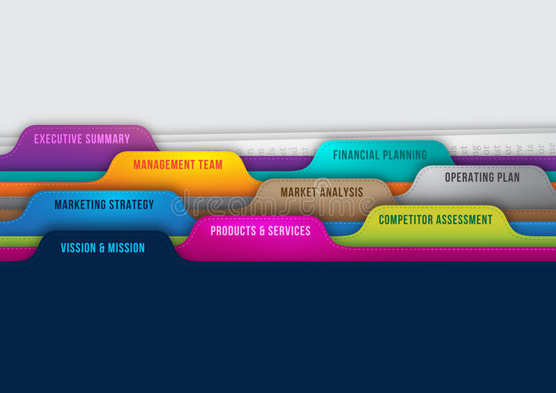 Elementos perfeitos do plano de negócios ilustração royalty free