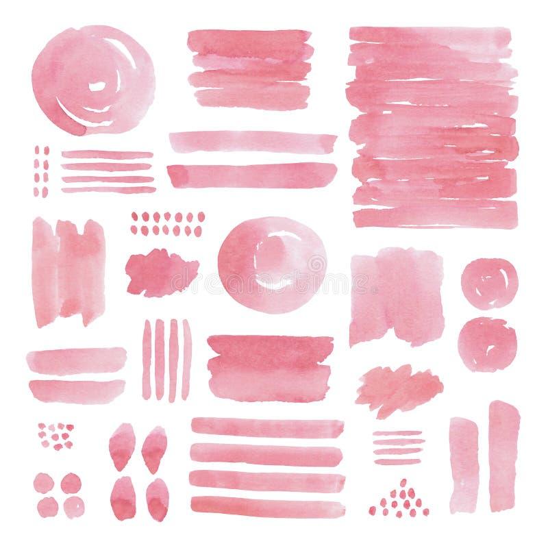 Elementos pintados à mão do rosa do sumário da aquarela foto de stock