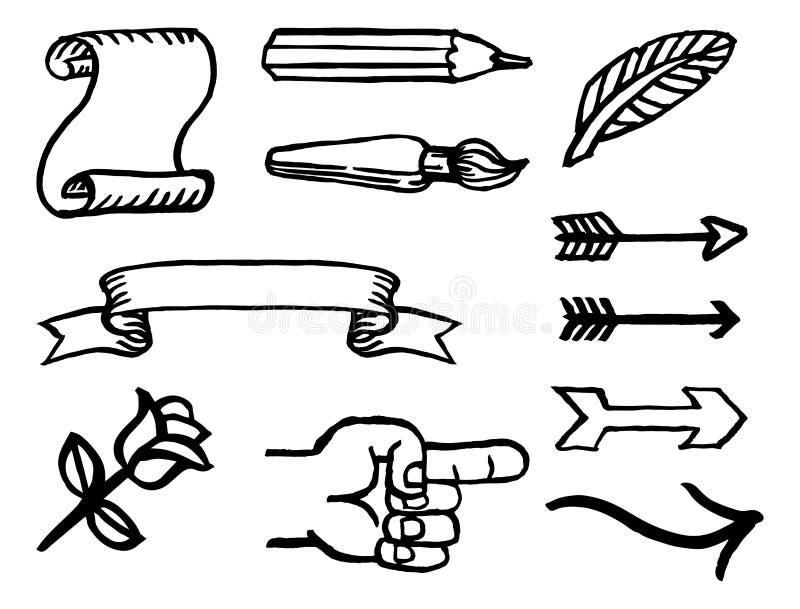 Elementos pintados del diseño de la tinta de la acuarela stock de ilustración