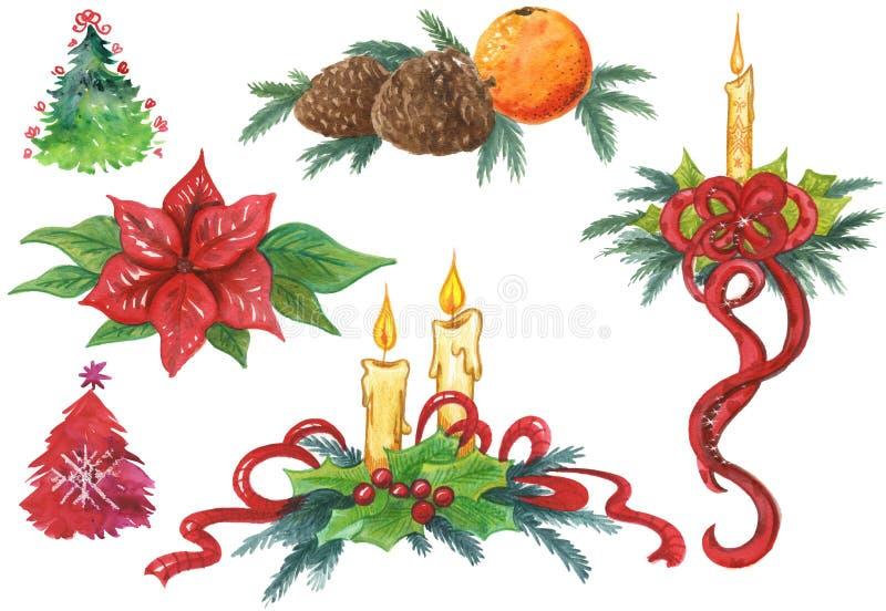Elementos pintados a mano de la Navidad stock de ilustración