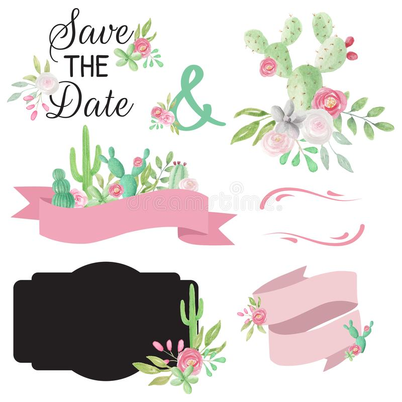 Elementos pintados a mano de los cactus de la acuarela de las banderas del cactus de los Succulents de la boda ilustración del vector