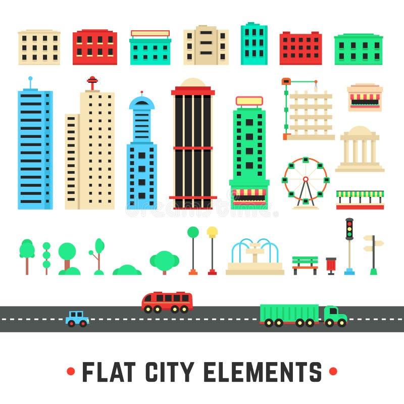 Elementos planos de la ciudad en el fondo blanco libre illustration