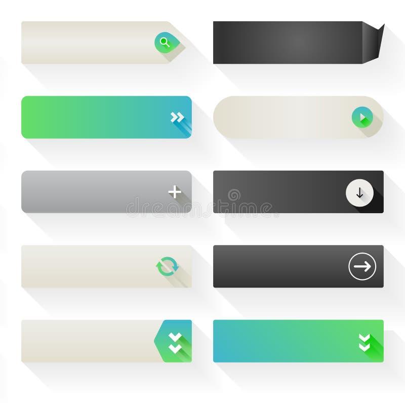 Elementos planos del botón del web stock de ilustración