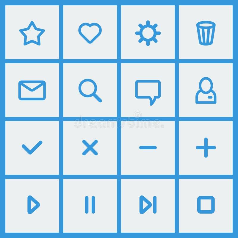 Elementos planos del diseño de UI - sistema de iconos básicos del Web stock de ilustración