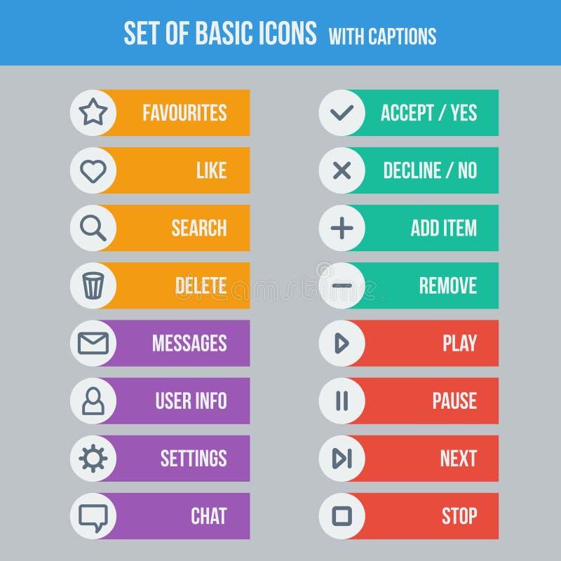 Elementos planos del diseño de UI - sistema de iconos básicos del Web ilustración del vector