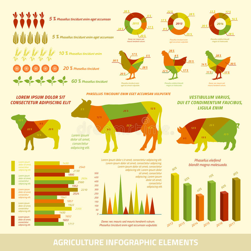 Elementos planos del diseño del infographics de la agricultura libre illustration