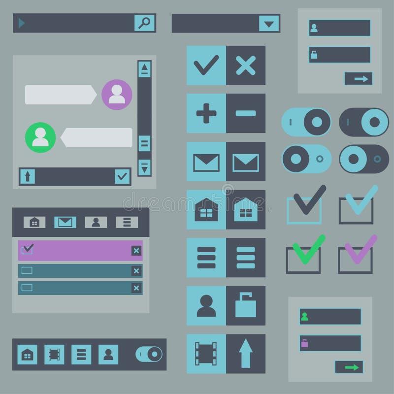 Elementos planos del diseño web, botones, iconos ilustración del vector