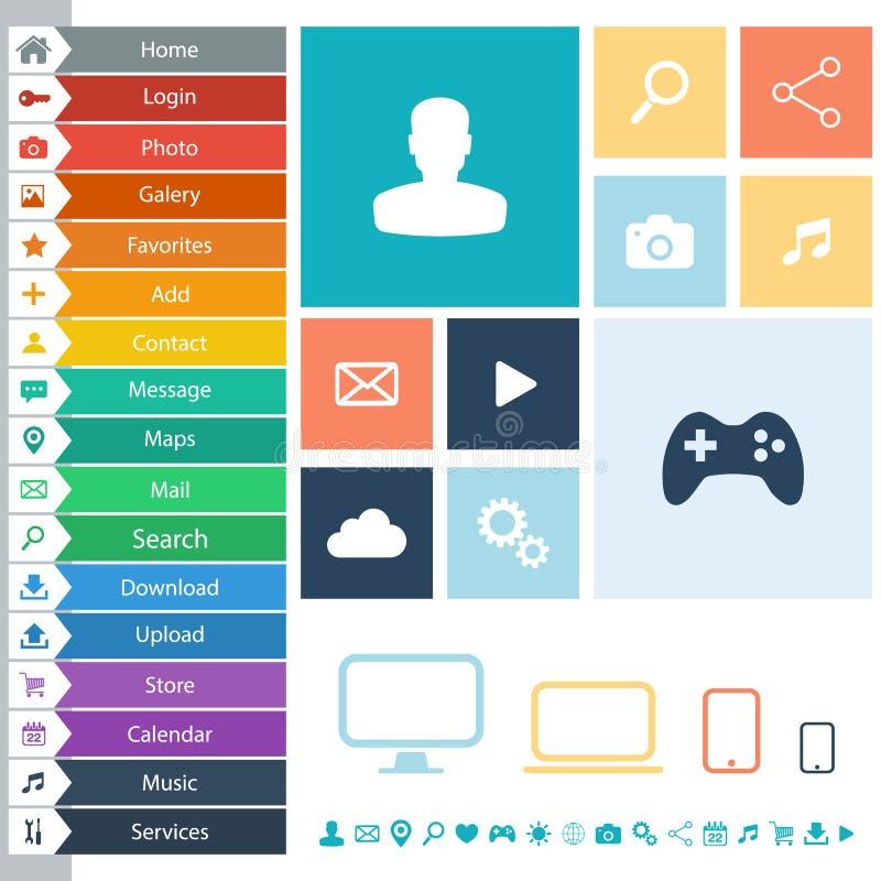 Elementos planos del diseño web, botones, iconos para el interfaz, sitios web, apps ilustración del vector