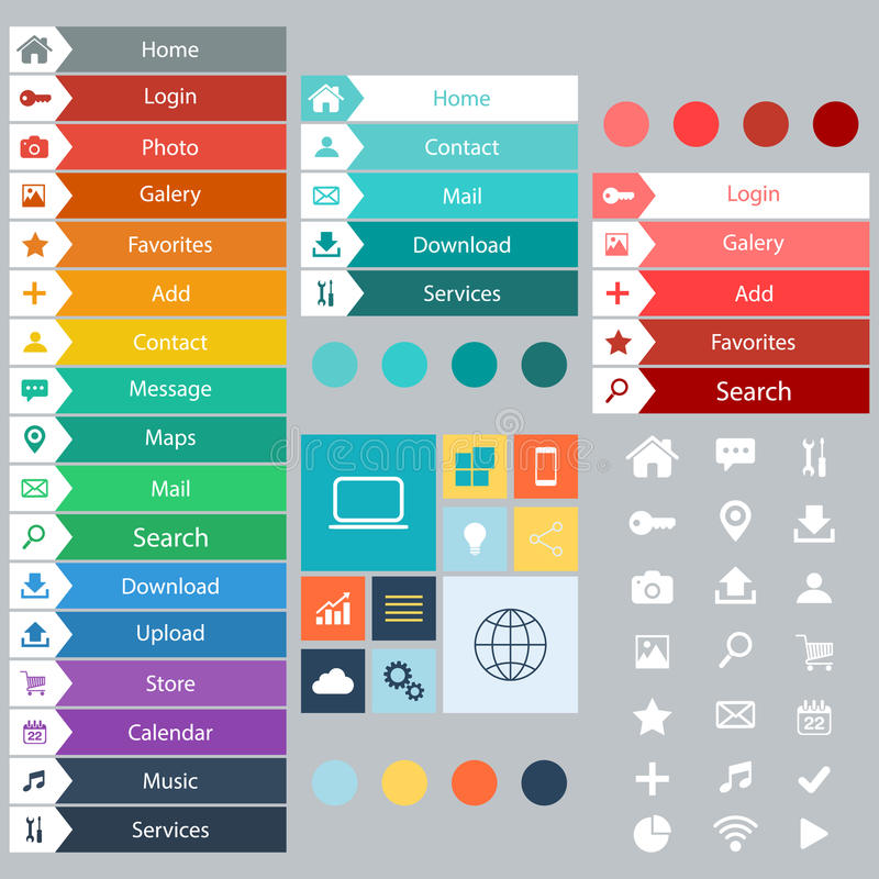 Elementos planos del diseño web, botones, iconos Plantillas para el Web site stock de ilustración