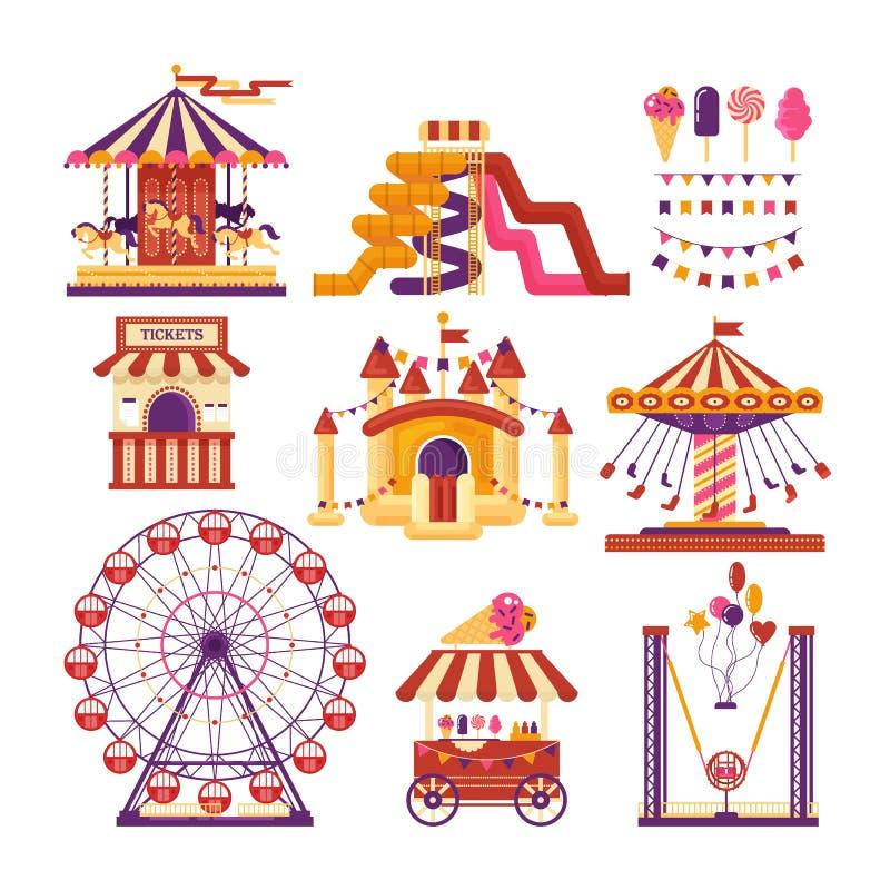 Elementos planos del parque de atracciones con los carruseles, waterslides, globos, banderas, castillo inflable del trampolín, no stock de ilustración