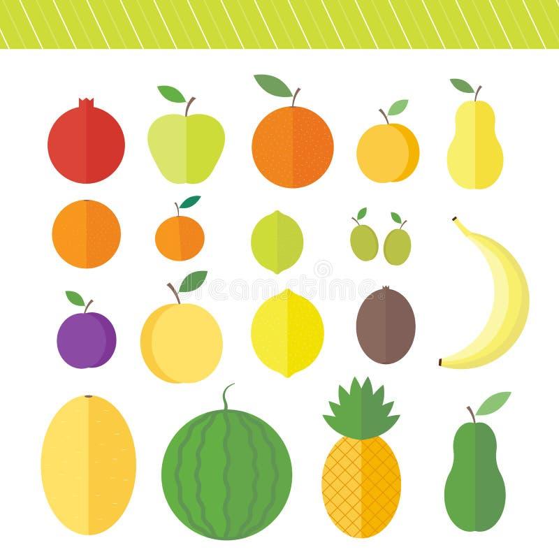 Elementos planos del vector para las frutas y las bayas del diseño web libre illustration