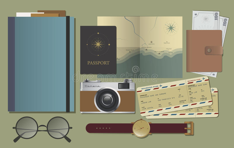 Elementos planos del viaje de la endecha stock de ilustración