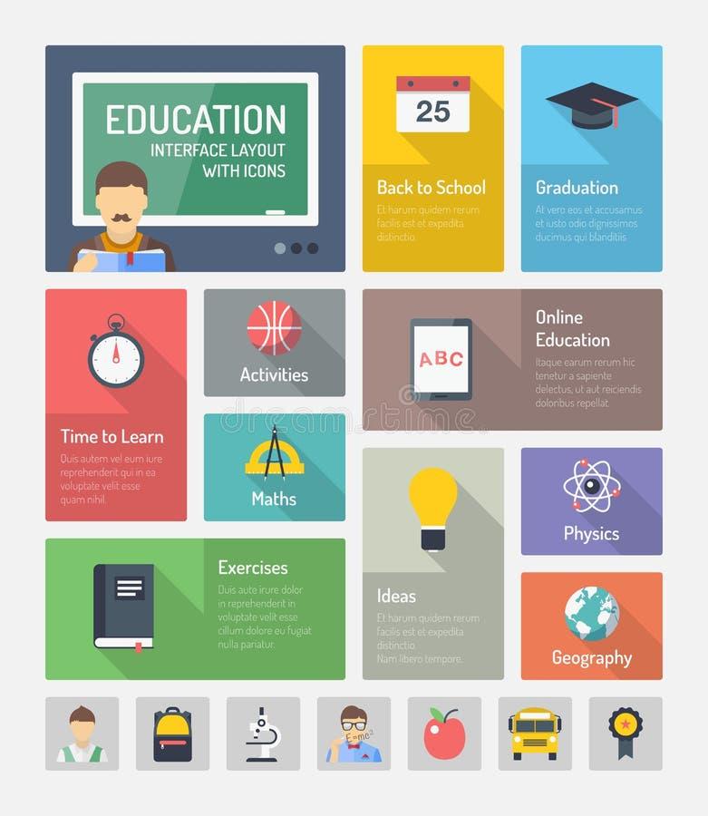 Elementos planos del web de la educación con los iconos ilustración del vector