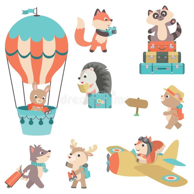 Elementos planos retros del diseño del ejemplo del vector del bebé de la moda linda de Forest Animals Traveling Theme Old aislado libre illustration