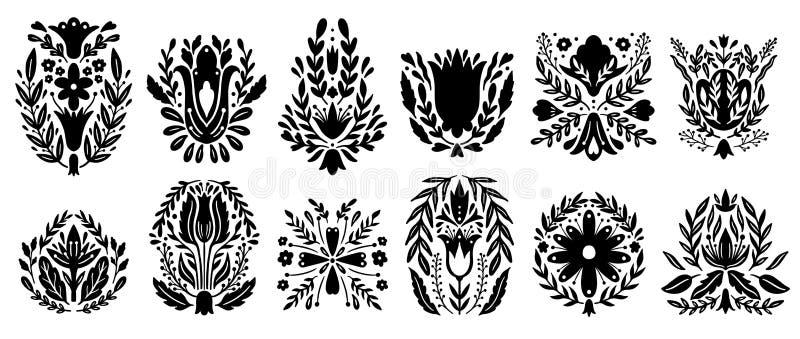 Elementos populares tradicionais do grupo do ornamento Projeto do ethno da decoração, símbolo nacional floral ilustração do vetor