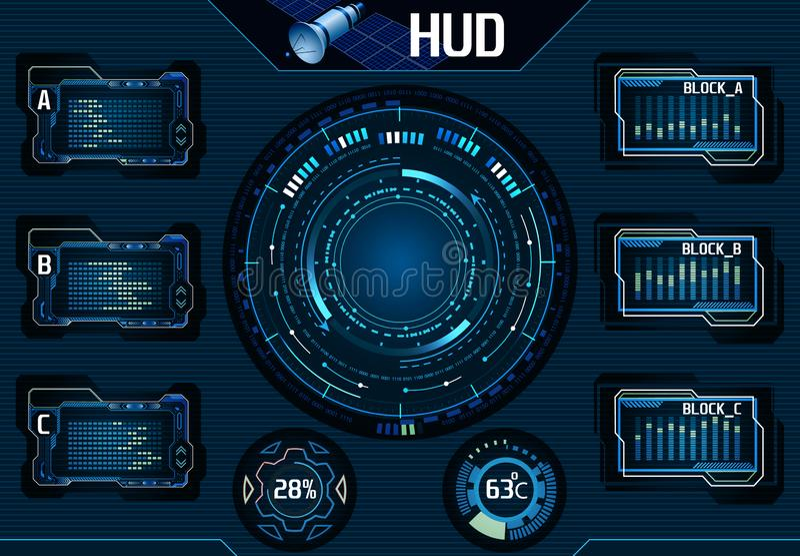 Elementos por satélite de HUD UI Infographic Interfaz gráfico de la tecnología - ejemplo stock de ilustración
