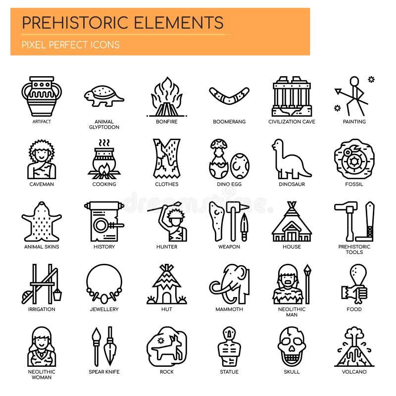 Elementos pré-históricos, ícones perfeitos do pixel ilustração do vetor
