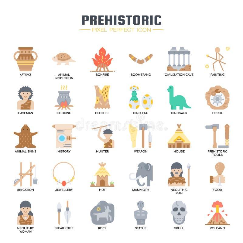 Elementos pré-históricos, ícones perfeitos do pixel ilustração stock
