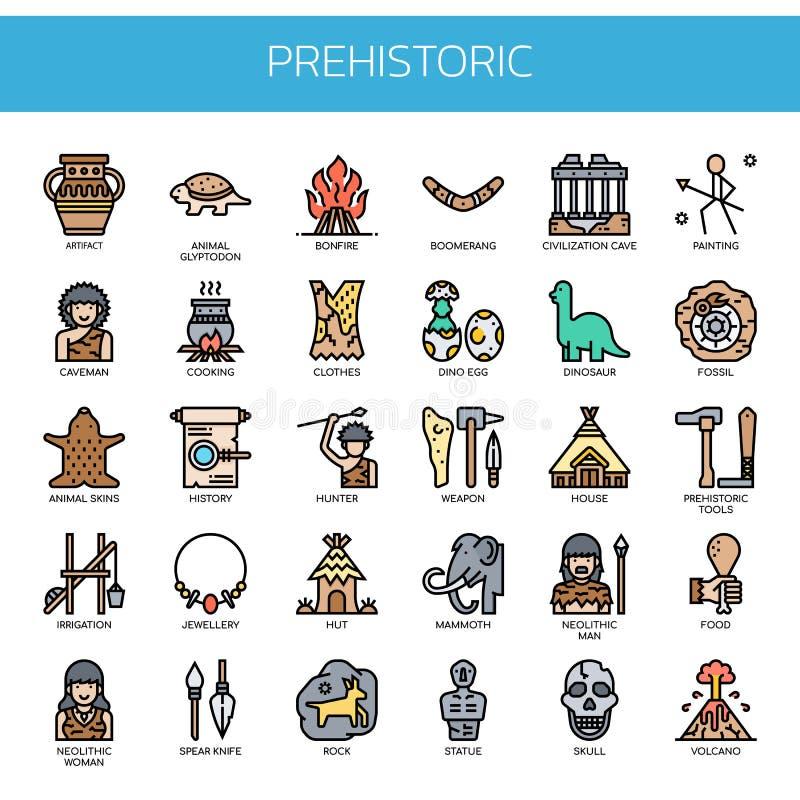 Elementos pré-históricos, ícones perfeitos do pixel ilustração royalty free