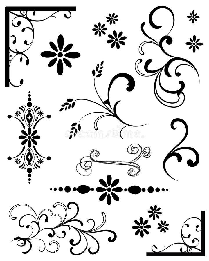 Elementos pretos do projeto ilustração do vetor