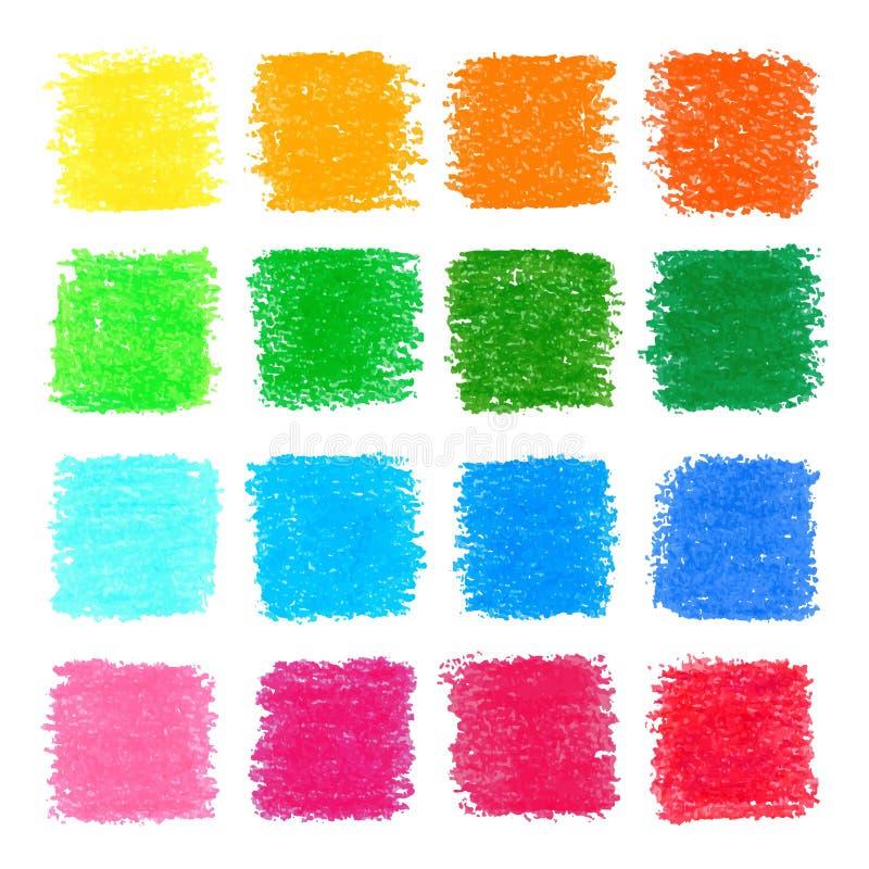 Elementos quadrados pasteis do projeto do óleo bonito para seu projeto ilustração royalty free
