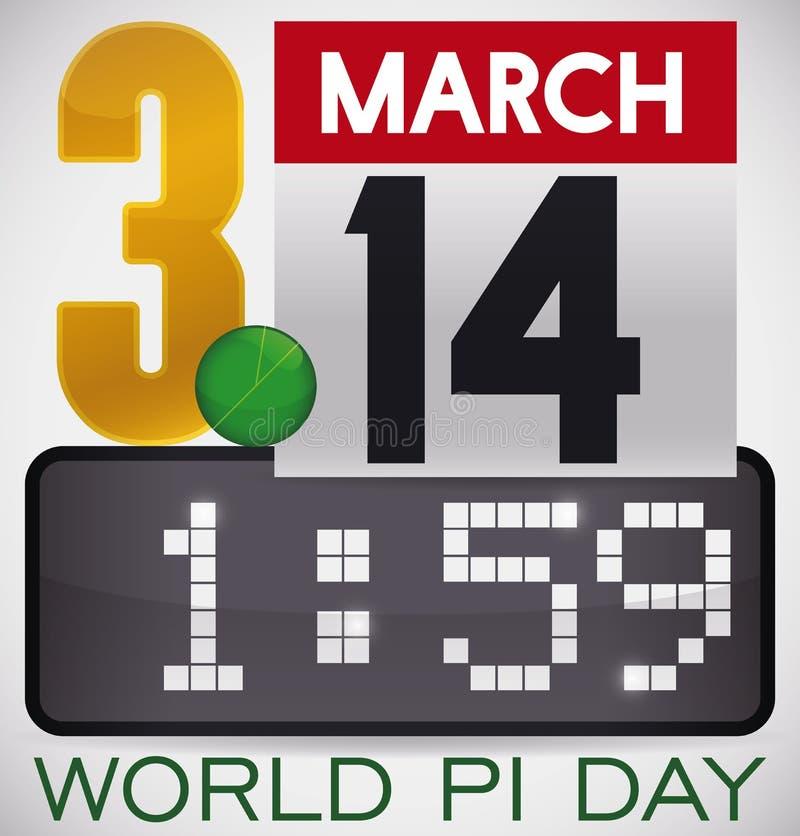 Elementos que formam o valor do pi para comemorar no dia do pi do mundo, ilustração do vetor ilustração royalty free