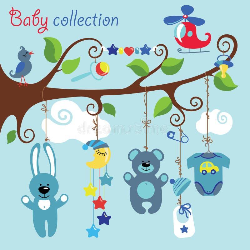Elementos recién nacidos para la ejecución del bebé en el árbol ilustración del vector