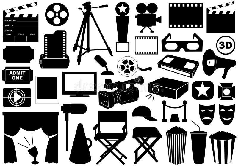 Elementos relacionados do filme ilustração stock