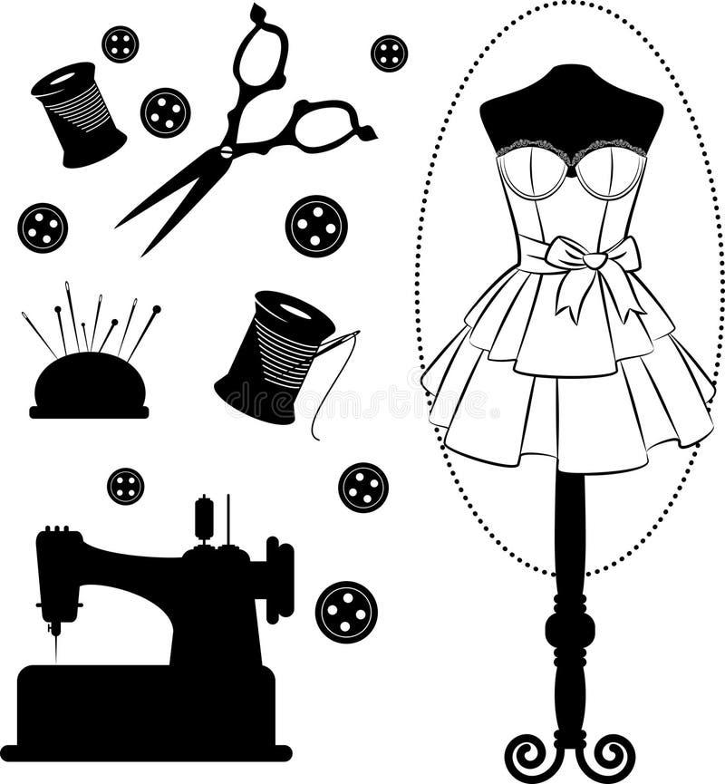 Elementos relacionados sewing do vintage ilustração stock