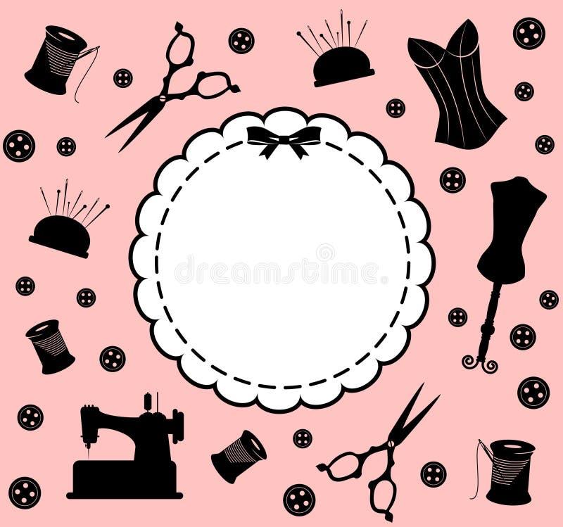 Elementos relacionados sewing do vintage ilustração do vetor