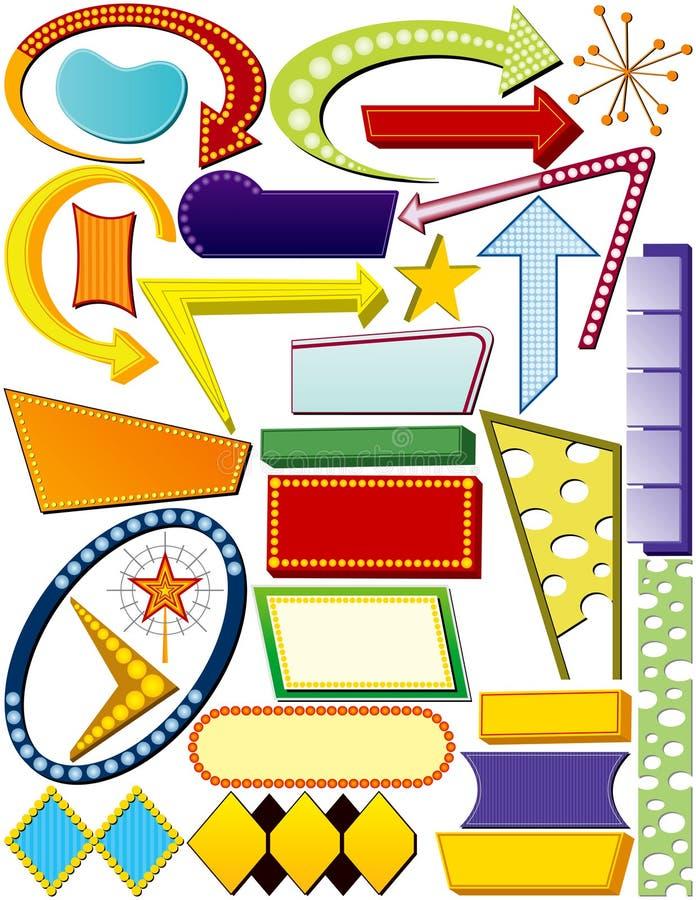 Elementos retros de la muestra stock de ilustración