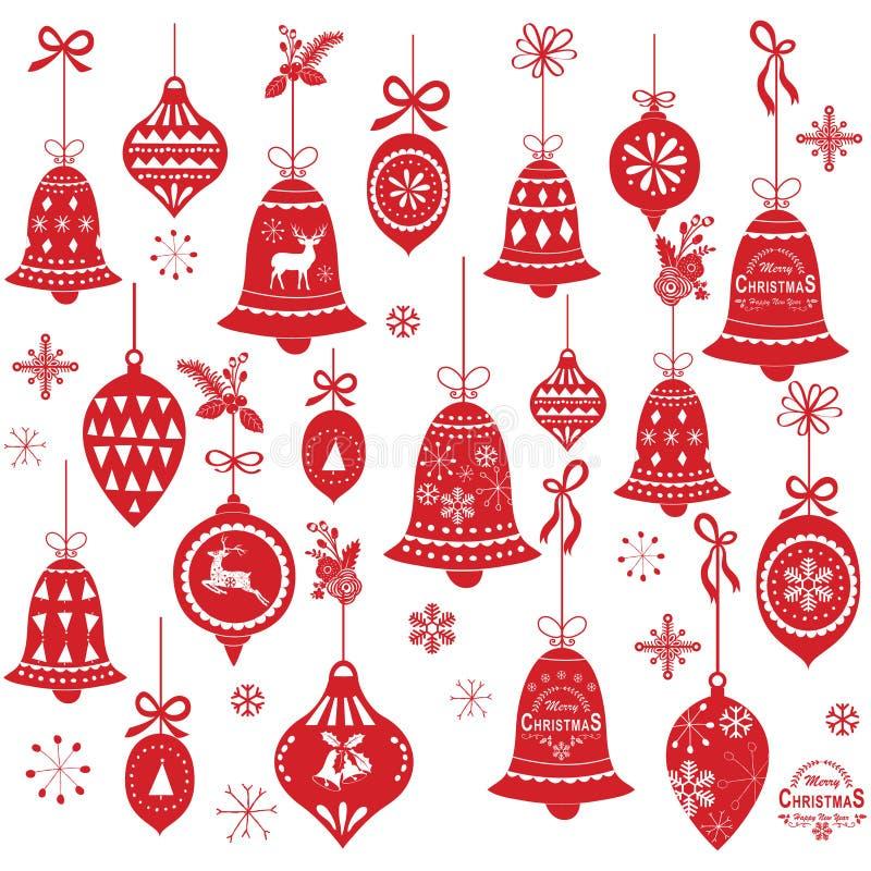 Elementos retros del diseño de Bell de la Navidad libre illustration