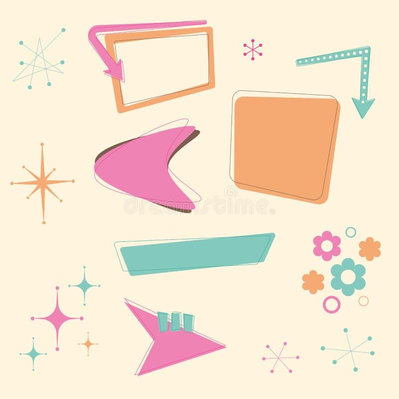 Elementos retros del diseño 50s stock de ilustración