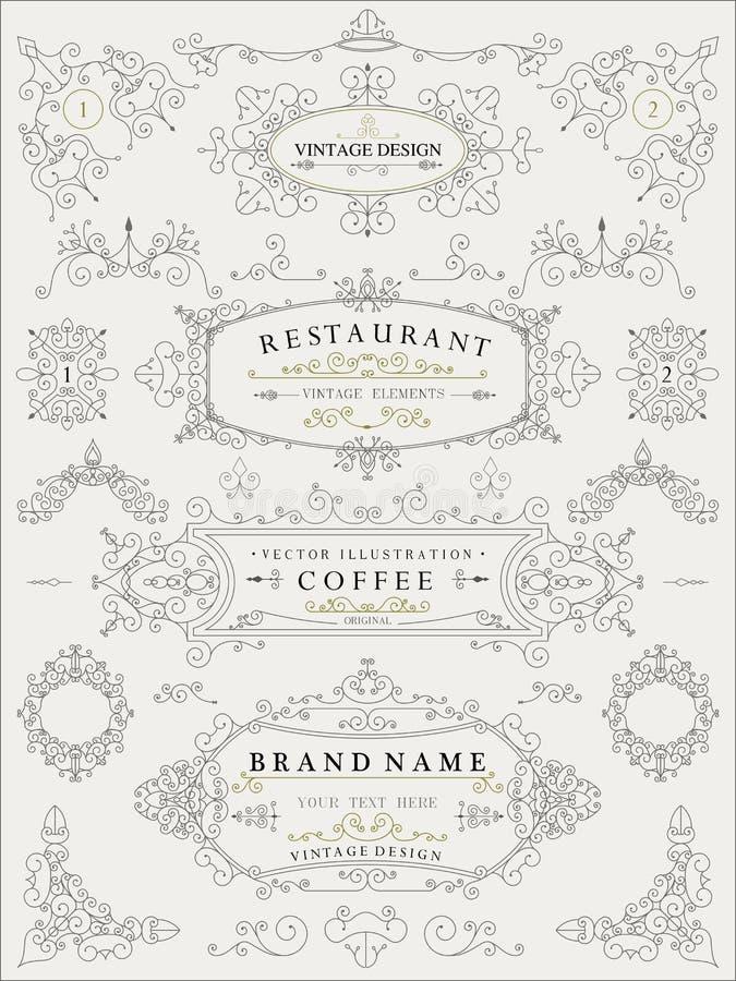 Elementos retros finos decorativos, marco victoriano, divisor, frontera, vector del vintage ilustración del vector