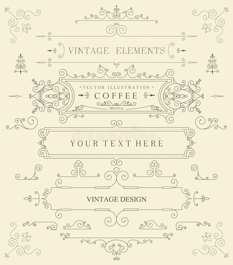 Elementos retros finos decorativos, quadro vitoriano, divisor, beira, vetor do vintage ilustração do vetor
