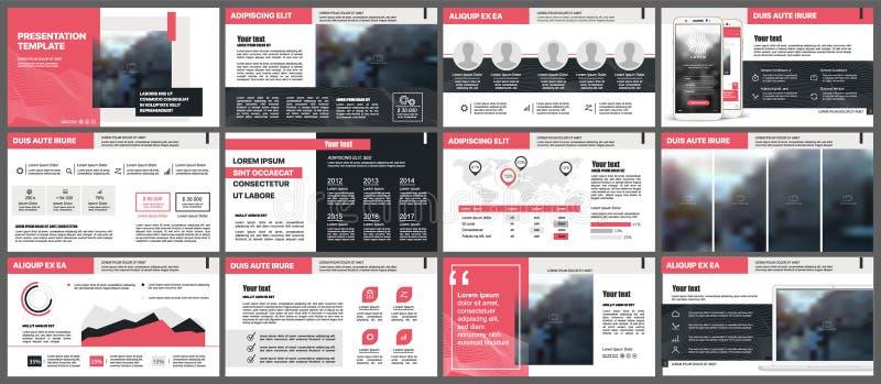 Elementos rojos de las plantillas de la presentación en un fondo blanco Infographics del vector stock de ilustración