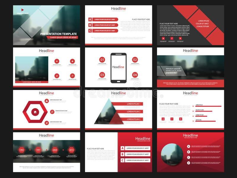 Elementos rojos de las plantillas de la presentación en un fondo blanco Infographics del vector Uso en la presentación, el aviado stock de ilustración