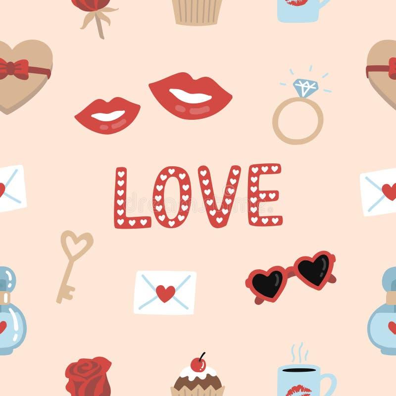 Elementos românticos bonitos e fundo sem emenda do teste padrão da tipografia para o dia dos valentine's ilustração do vetor