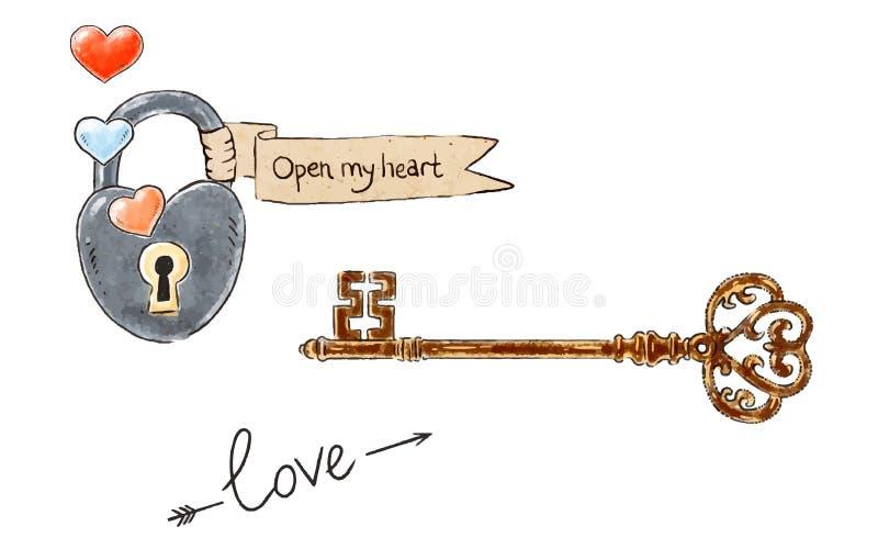 Elementos românticos tirados mão do projeto para o dia de Valentim Padlock e abra meu coração na fita, chave do vintage, rotulaçã ilustração royalty free