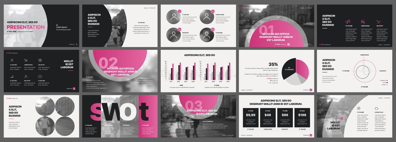 Elementos rosados de las plantillas de la presentación en un fondo blanco libre illustration