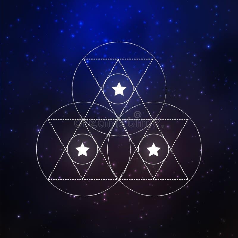 Elementos sacros de la geometría stock de ilustración