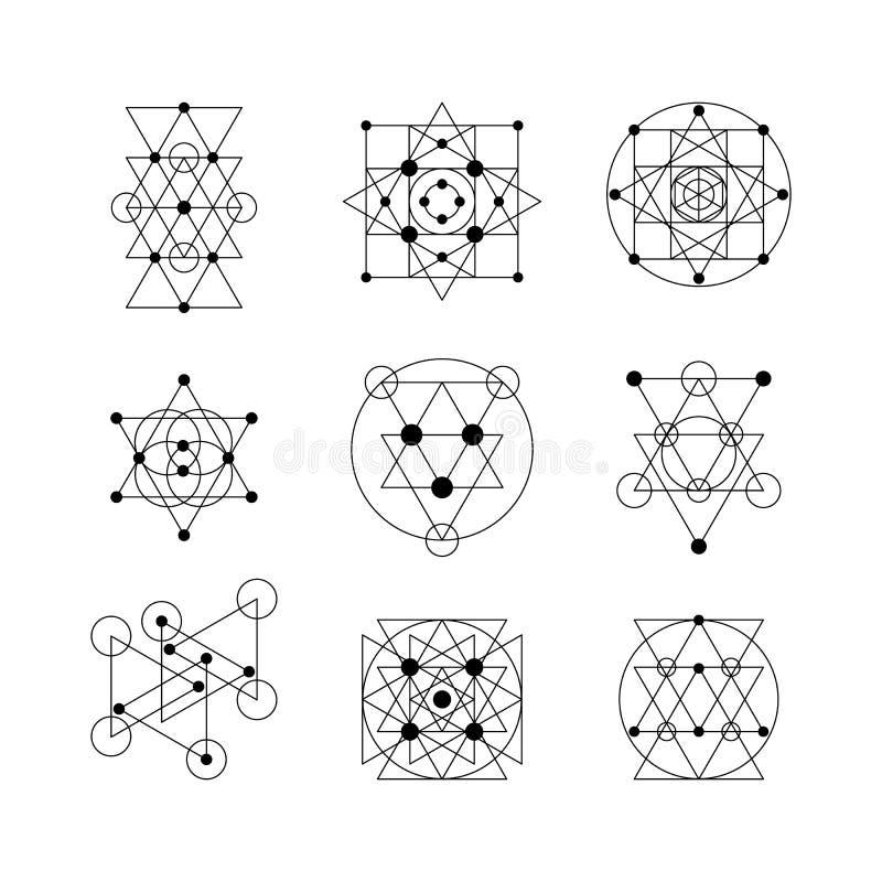 Elementos sagrados de la geometría ilustración del vector