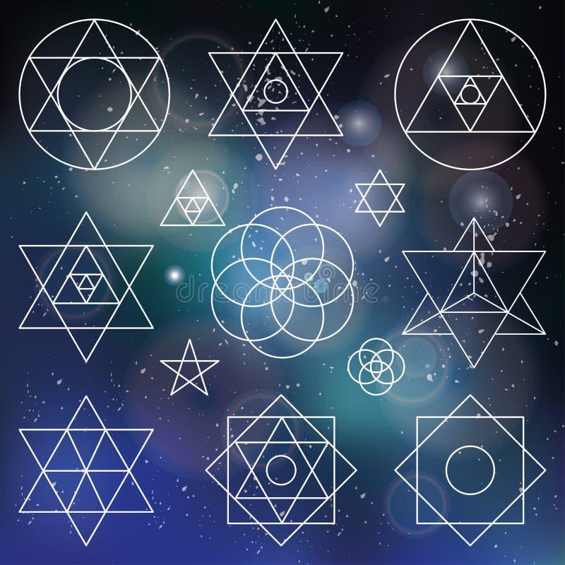 Elementos sagrados de los símbolos de la geometría contorno enmascarado ilustración del vector
