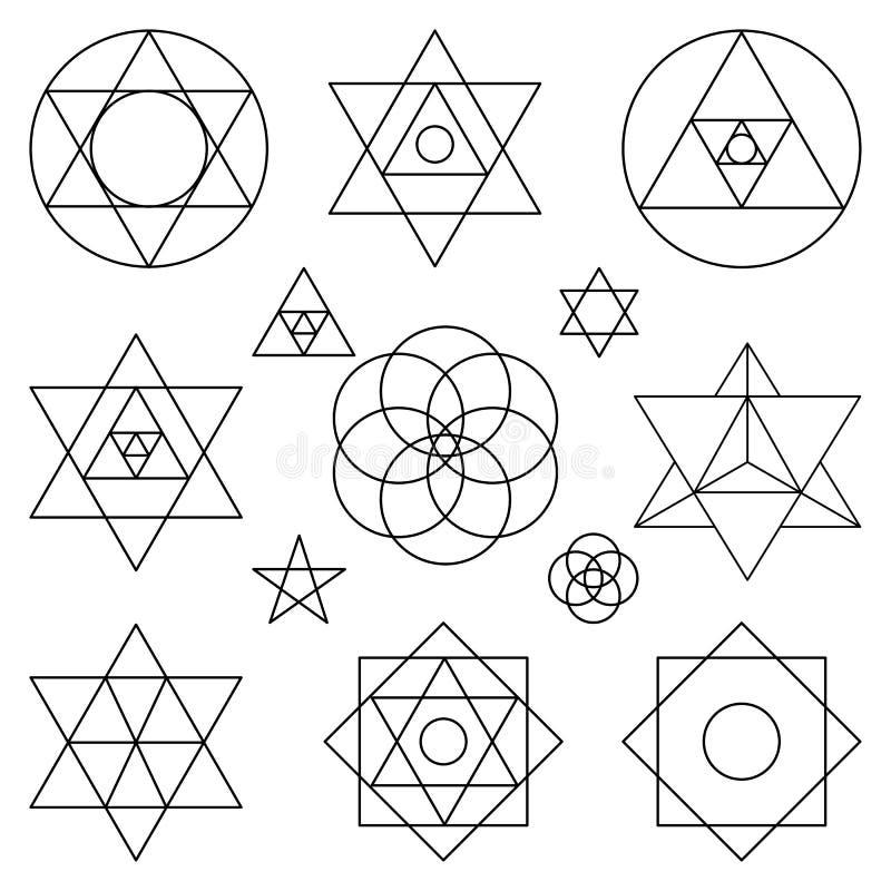 Elementos sagrados de los símbolos de la geometría Esquema negro libre illustration